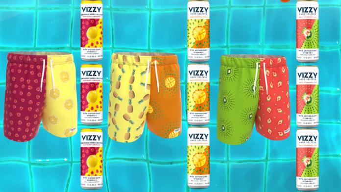 Vizzy hard seltzer swim trunks